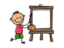 Niño del artista Ejemplo del vector del niño de la historieta ilustración del vector