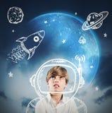 Niño del astronauta stock de ilustración