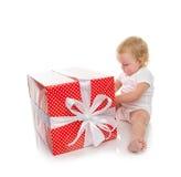 Niño 2016 del bebé del niño del concepto del Año Nuevo con los pres de la Navidad Foto de archivo libre de regalías