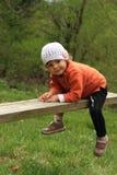 Niño del bebé en el bosque Fotos de archivo
