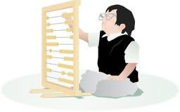 Niño del contable con el ábaco Stock de ilustración