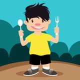 Niño del ejemplo que sostiene la cuchara y la bifurcación Imagenes de archivo