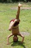 Niño del monje que trabaja en sus posiciones del pino imagen de archivo