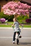 Niño del montar a caballo de la bici Imagen de archivo libre de regalías