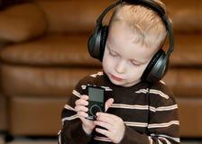 Niño del MP3 de la música Imagen de archivo libre de regalías