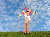 Niño del muchacho con la cometa en el collage del prado Imagenes de archivo