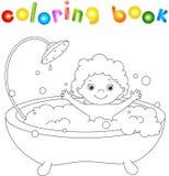 Niño del ute del ¡de Ð que se baña en el baño con espuma y la risa Colori Imagen de archivo libre de regalías