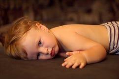 Niño depresivo triste Foto de archivo libre de regalías
