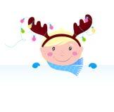 Niño divertido lindo en traje del reno con la bandera Imágenes de archivo libres de regalías