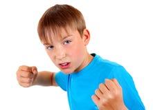 Niño en actitud del boxeador Fotografía de archivo