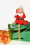 Niño en alineada de la Navidad Foto de archivo