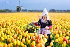 Niño en campo de flor del tulipán Molino de viento en Holanda Imagen de archivo libre de regalías