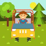 Niño en el coche el las primaveras Patio del ` s de los niños ejemplo común plano Bebé-temático con los elementos aislados stock de ilustración