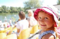 Niño en el estadio Fotografía de archivo libre de regalías