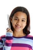 Niño en el fondo blanco Imagen de archivo