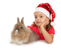 Niño en el sombrero del Año Nuevo con un conejo. Fotografía de archivo