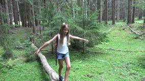 Niño en Forest Walking Tree Log Kid que juega la madera al aire libre de la muchacha de la aventura que acampa almacen de metraje de vídeo