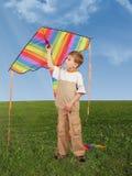 Niño en hierba con la cometa, collage Imágenes de archivo libres de regalías