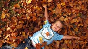 Niño en hojas de otoño   Foto de archivo libre de regalías