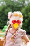 Niño en la máscara animal del papel Fotos de archivo