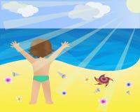 Niño en la playa ilustración del vector