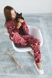 Niño en pijamas del invierno Imagen de archivo libre de regalías
