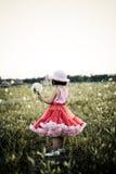 Niño en un campo de flor Fotos de archivo libres de regalías