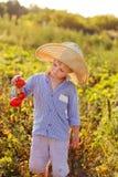 Niño en un jardín Foto de archivo