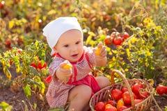 Niño en un jardín Imagenes de archivo