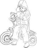 Niño en una bicicleta Stock de ilustración