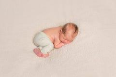 Niño en una manta, tomando una siesta, topview Fotos de archivo libres de regalías