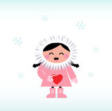 Niño esquimal lindo que lleva a cabo el corazón rojo libre illustration