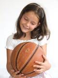 Niño feliz con baloncesto Fotografía de archivo
