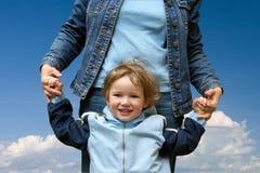Niño feliz con la momia Imagen de archivo libre de regalías