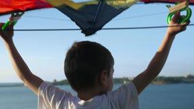 Niño feliz con vista posterior del aeroplano del juguete Niño que se divierte al aire libre Niño que juega en verano Niño contra  metrajes