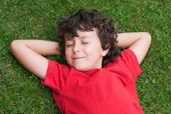 Niño feliz dormido en la hierba Foto de archivo