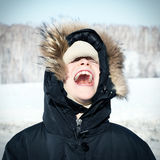 Niño feliz en el invierno Fotografía de archivo