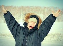 Niño feliz en el invierno Imagen de archivo