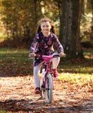 Niño feliz en la bici en bosque del otoño Imagen de archivo