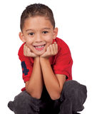 Niño feliz que escucha la historia Imágenes de archivo libres de regalías