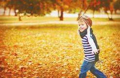 Niño feliz que juega al aviador experimental al aire libre en otoño Fotografía de archivo libre de regalías