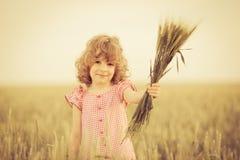 Niño feliz que sostiene trigo Imagen de archivo libre de regalías