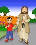 Niño feliz y Jesús que caminan junto la historieta fotos de archivo libres de regalías