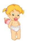 Niño femenino con la botella de bebé Fotografía de archivo libre de regalías