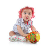 Niño femenino lindo con la piruleta foto de archivo