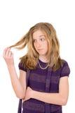 Niño femenino trastornado con el pelo Imagen de archivo libre de regalías