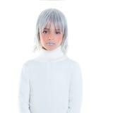 Niño futurista de la muchacha futurista hermosa del niño con el pelo gris Fotografía de archivo libre de regalías