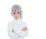 Niño futurista de la muchacha futurista hermosa del niño con el pelo gris Fotos de archivo libres de regalías