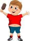 Niño gordo lindo feliz con helado Fotografía de archivo libre de regalías