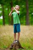 Niño hermoso al aire libre divirtiéndose Foto de archivo